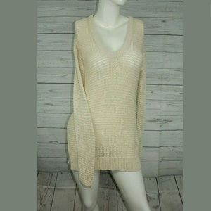 Ann Taylor Sweater Open Knit Long Sleeve V Neck 🍄